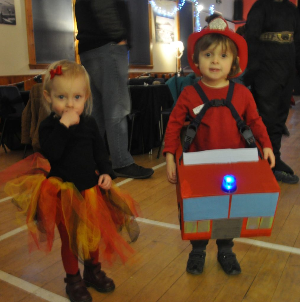 Thorin Park is the fireman and sister Freyja the fire in these cute outfits.