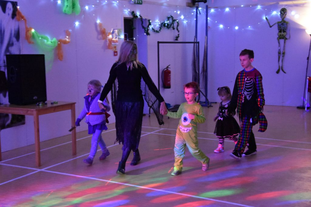 Nursery pupils parade for the best costume judging at the Lochranza Hallowe'en party.