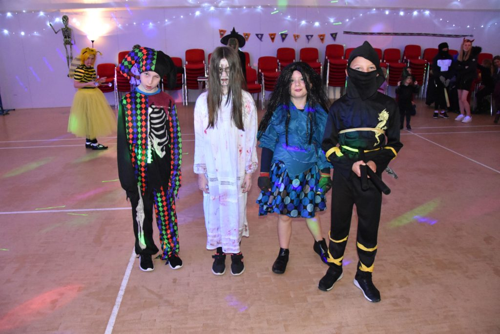P4 to P7 pupils dressed for success at the Lochranza Hallowe'en party.