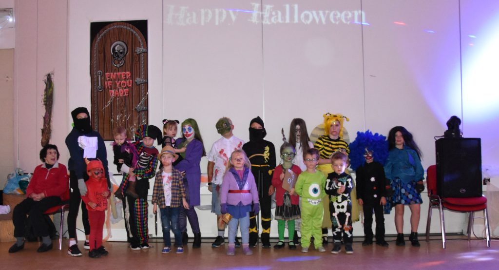 An assortment of monsters, devils, ghosts and two ninjas attended the Lochranza Hallowe'en party.