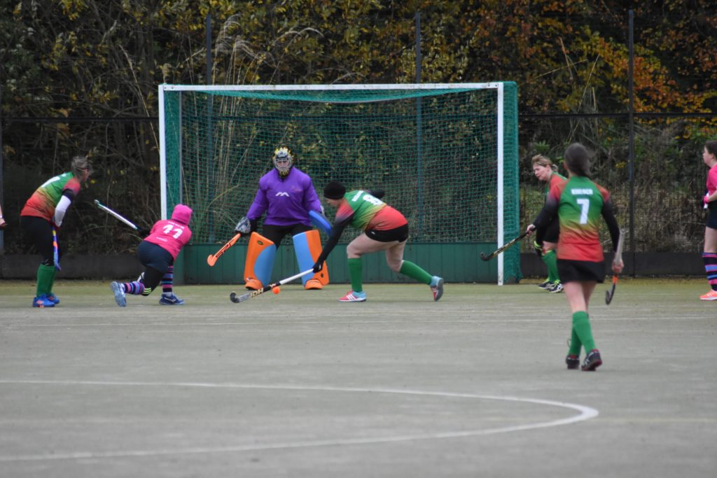 Lorraine Hewie has a go at goal.