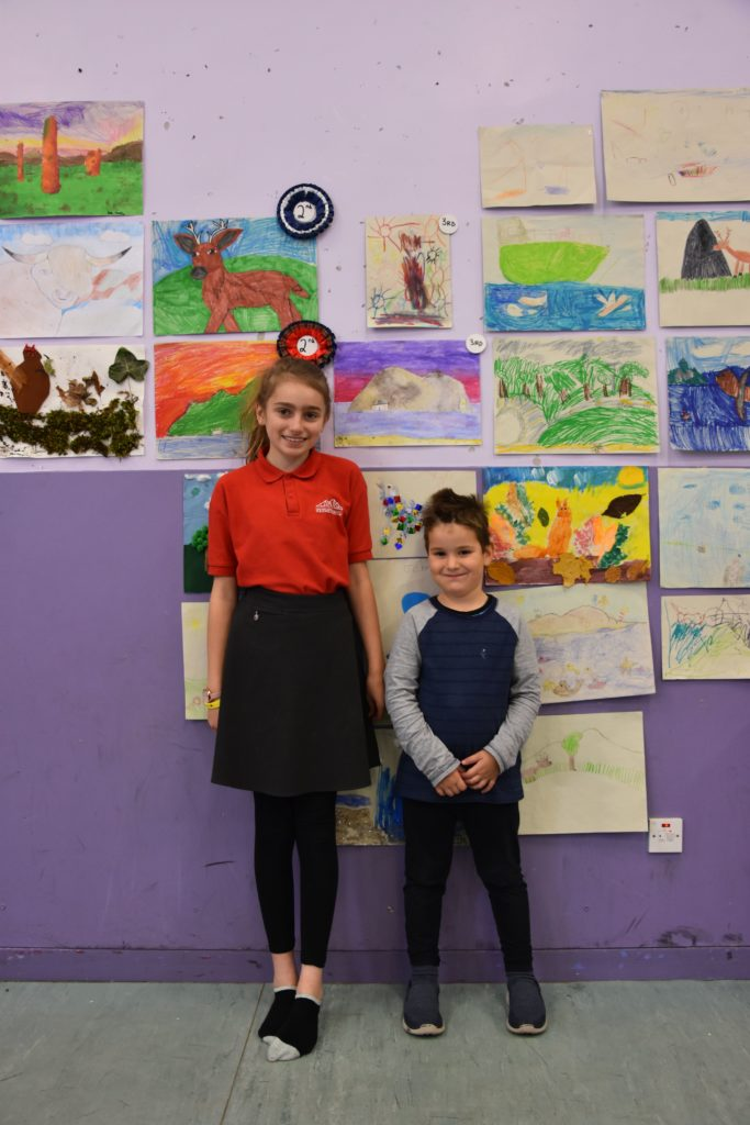 P7 pupil Faye and Early Years pupil Abraham were the deserving third place winners.