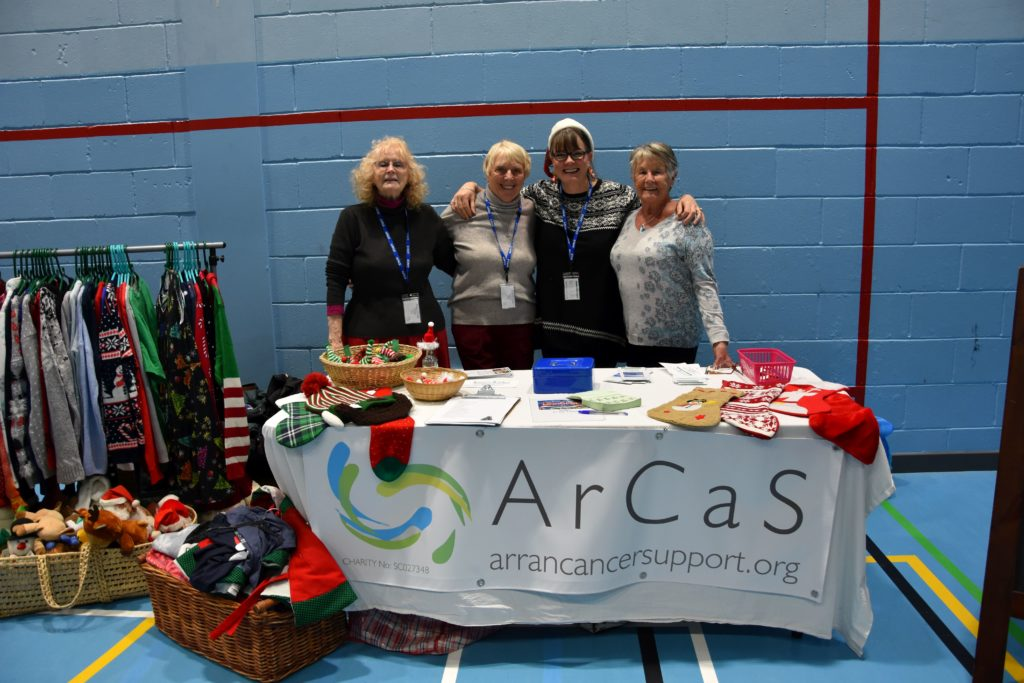 Jenny Bowles, Linda Sillars, Mary Raeburn and Janie Maclure at the ARCAS stall.