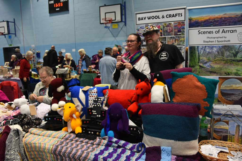Marion Melvin and Kat and James Sparshott of Bay Wool and Crafts at their stall.