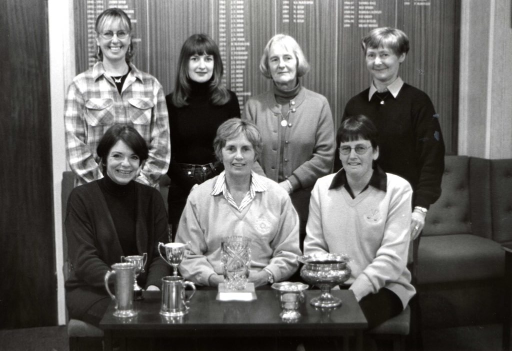 Pictured at their recent prize giving evening are the 1999 winners of the ladies section at Whiting Bay Golf Club. They are, standing, Ann Lee, Fiona McPherson, Wilma Aitken and Margaret Auld. Seated, Hilary Bridge, Pat McDonald (club champion) and Alison Dick.