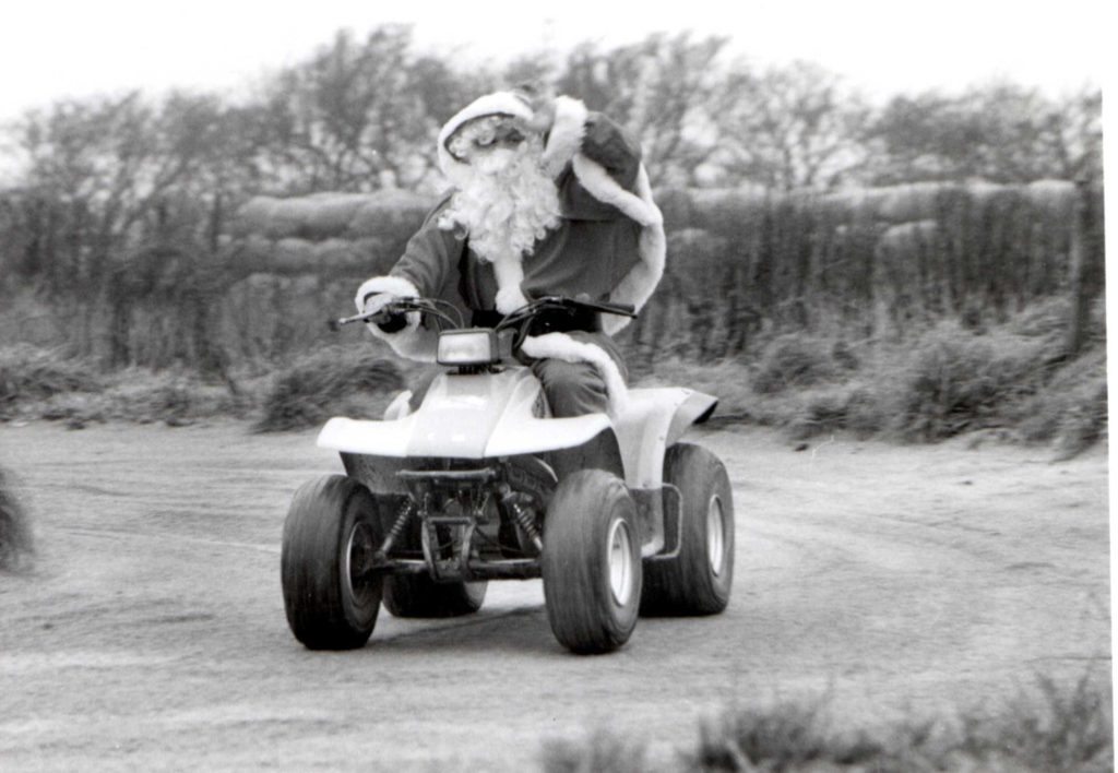 Santa arrived at Balmichael Visitor Centre last Saturday. A jovial chap, he enjoyed a ride on a quad bike before meeting with excited children in his grotto where he dispensed gifts and good cheer.