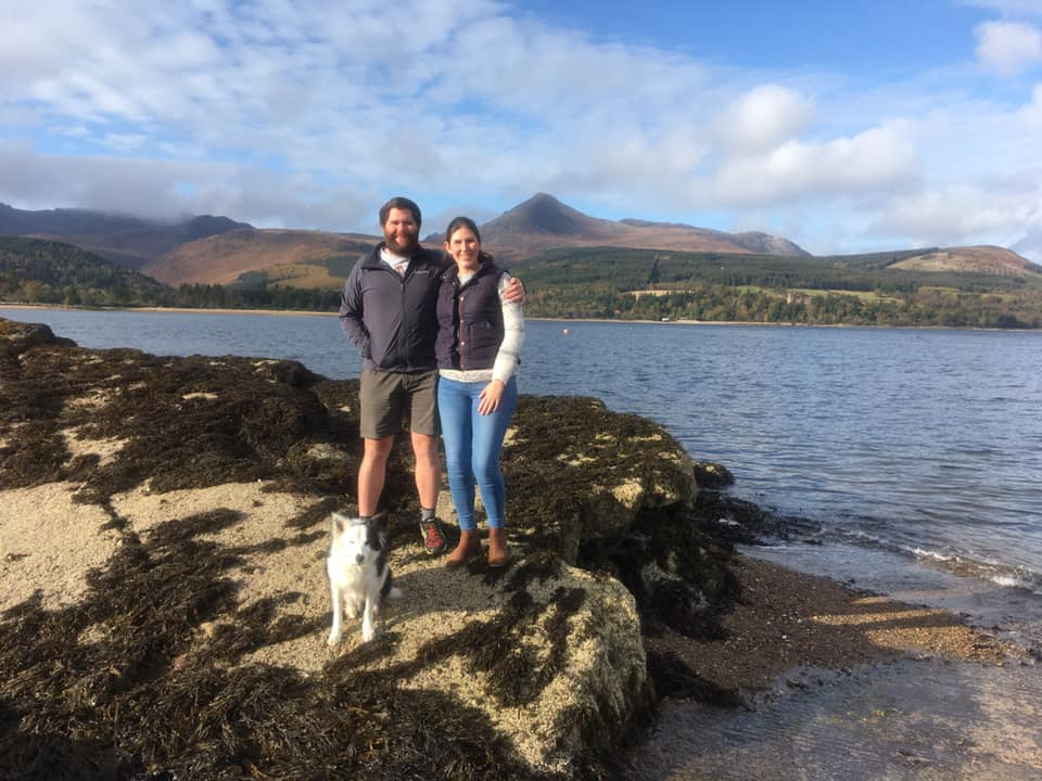 Dr Danielle Jackson her fiance Jake Dove who have both moved to Arran.