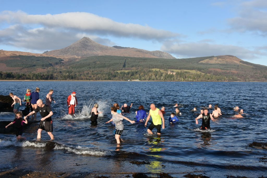 JANUARY. The year started off with the customary Douglas Dook at Brodick with dookers taking an icy plunge.