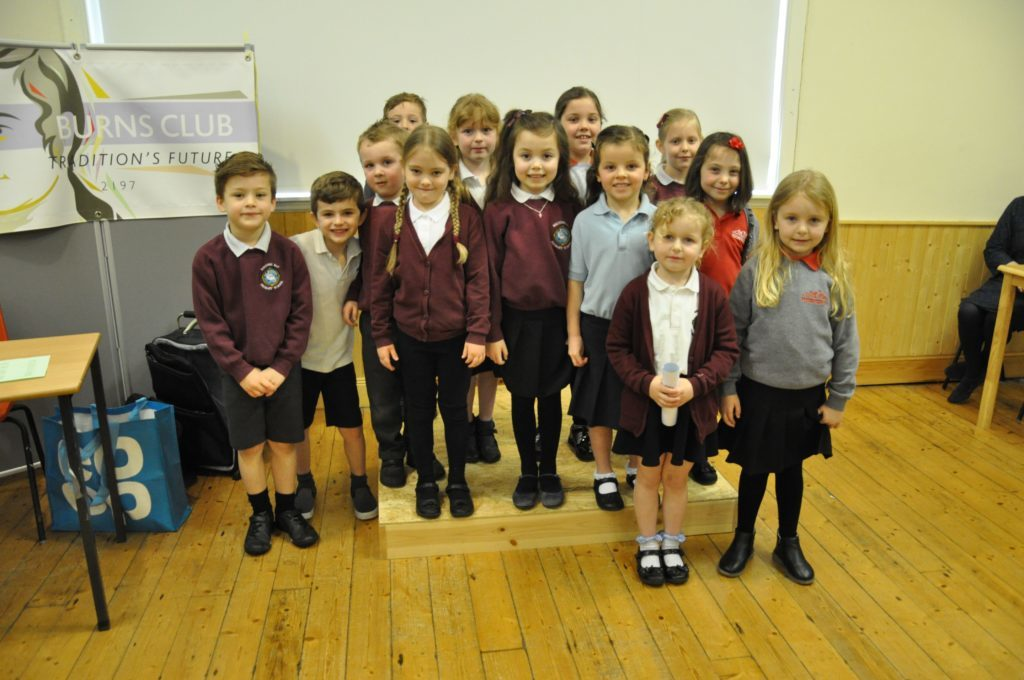 MARCH. Primary 1 and 2 pupils smile proudly after reciting their Burns poems at the Arran Schools Burns Verse Speaking Competition held during the 90th Isle of Arran Music Festival.