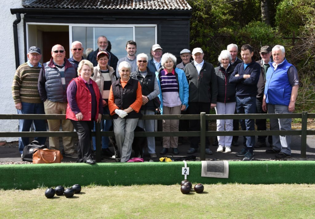 MAY.  Whiting Bay Bowling Club members pictured in front of the clubhouse at the 61st first game of the season.