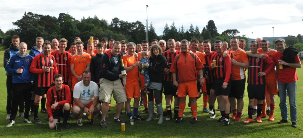 JUNE. The two teams of the inaugural Happy Spider Cup join in the trophy presentation to Little Rock captain Brian Smith by David and Claire Johnston and her daughter Betty.