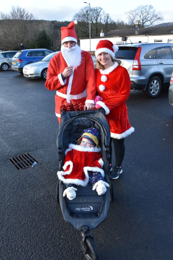 Matt and Fiona Webb made sure to dress daughter Rachel in suitable attire for the run.