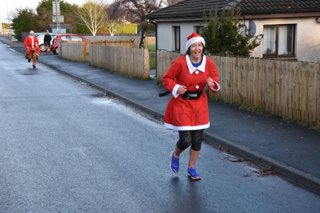 Carol Brown takes it all in her stride along Auchrannie Road.