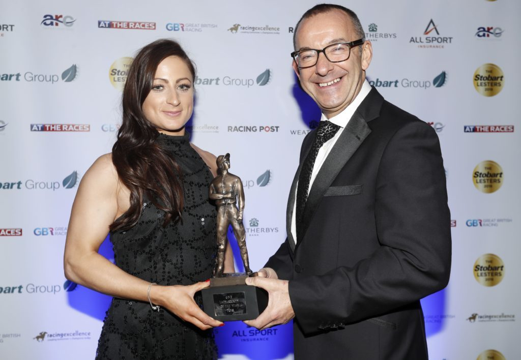 JANUARY. Arran's Nicola Currie is presented with the Lady Jockey of the Year award at the Stobart Lesters. Photograph: Dan Abraham-focusonracing.com.