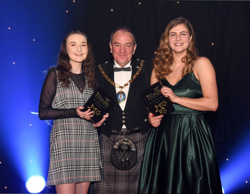MARCH.  Corrie Shepherd and Eilidh Hamill shared a joint award for their work as sports volunteers at the Provost' Civic pride Awards which were presented by Provost Ian Clarkson.