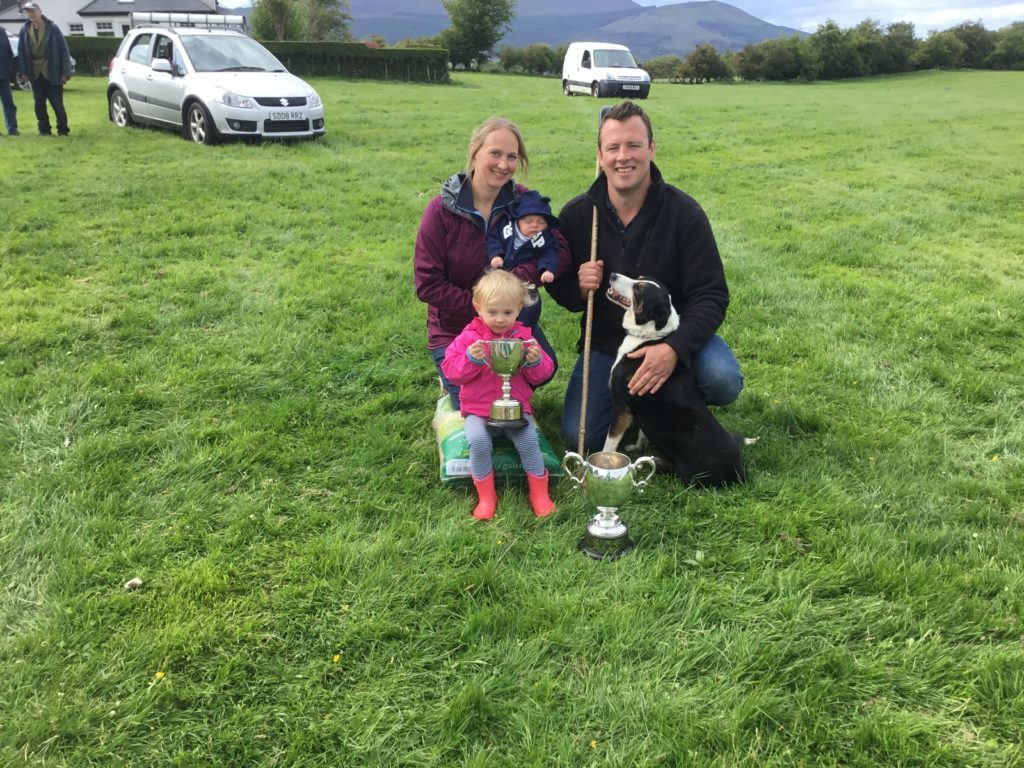 JUNE. Winner of the Kildonan and District sheep dog trials is Niall McMaster with his wife Genevieve, children Sophie and Euan and dog, Gail.