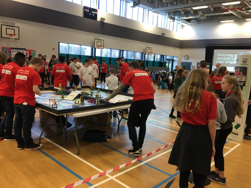 Lamlash pupils get to work on their creations in the event hall at Ayrshire College.