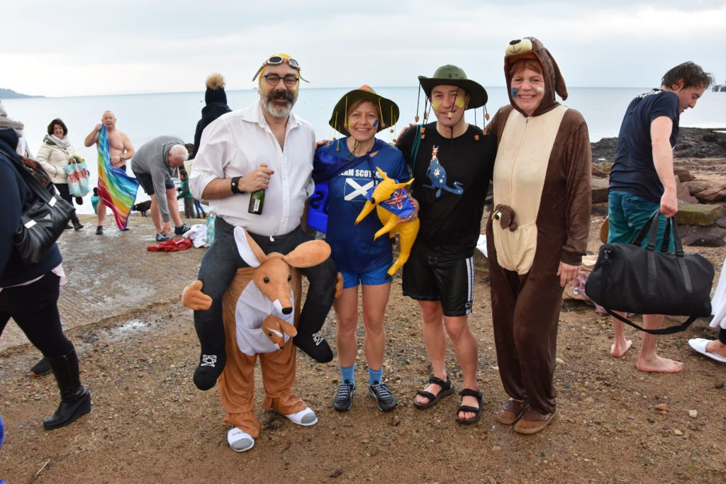 The Australian contingent stop for a quick photograph following their dook.