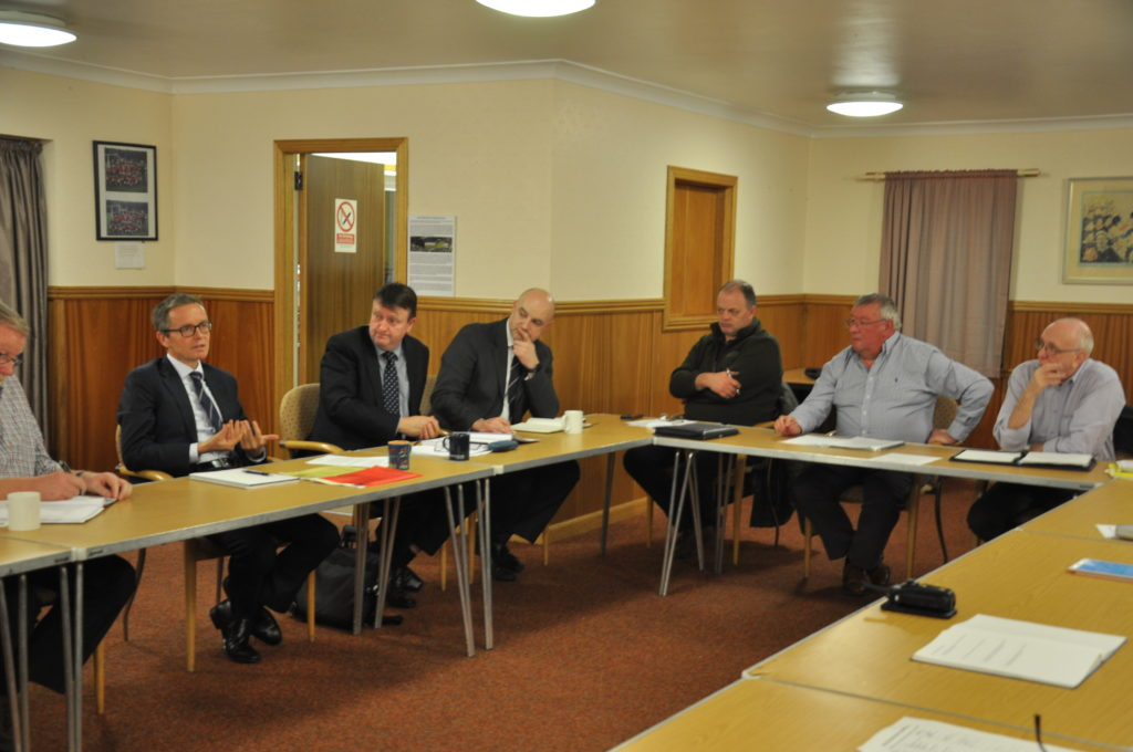 Robbie Drummond makes a point at the meeting.