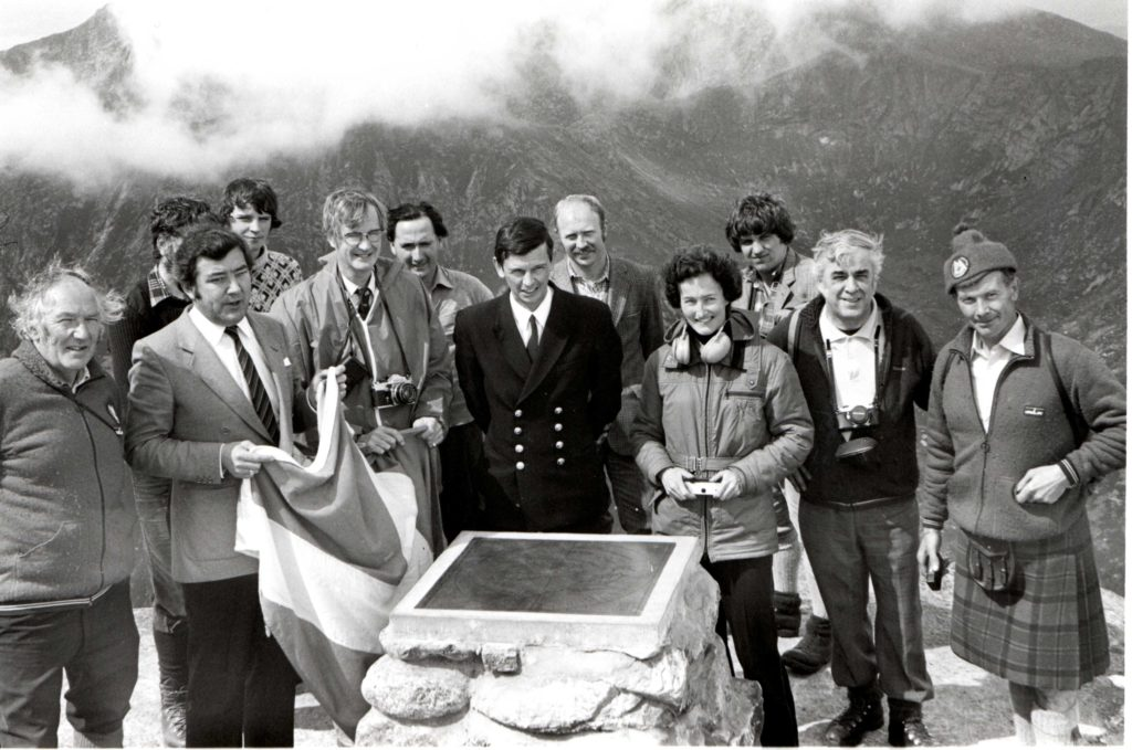 The official unveiling of the indicator board at the top of Goatfell on 26th May 1981.