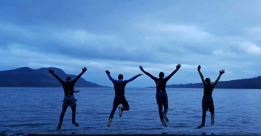 Darren, Sid and Jesse Townsend join Eden Robertson to take their own dook in Lamlash Bay.