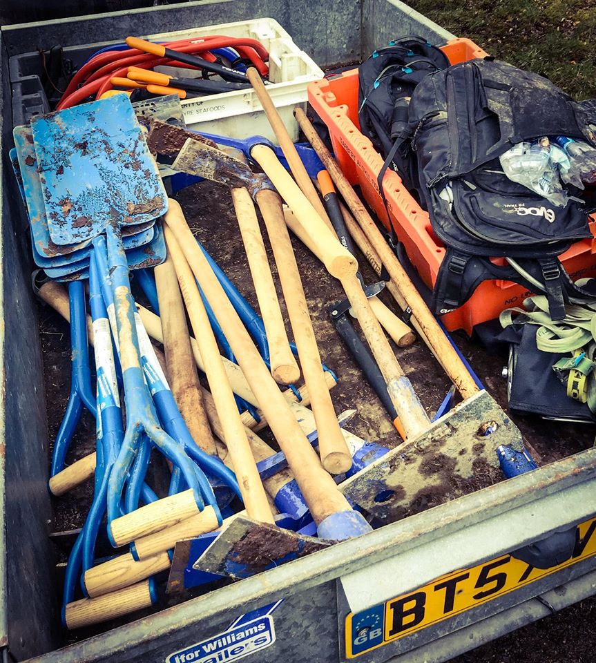 Picks, shovels and stampers are the manual tools used by the group for trail repairs.