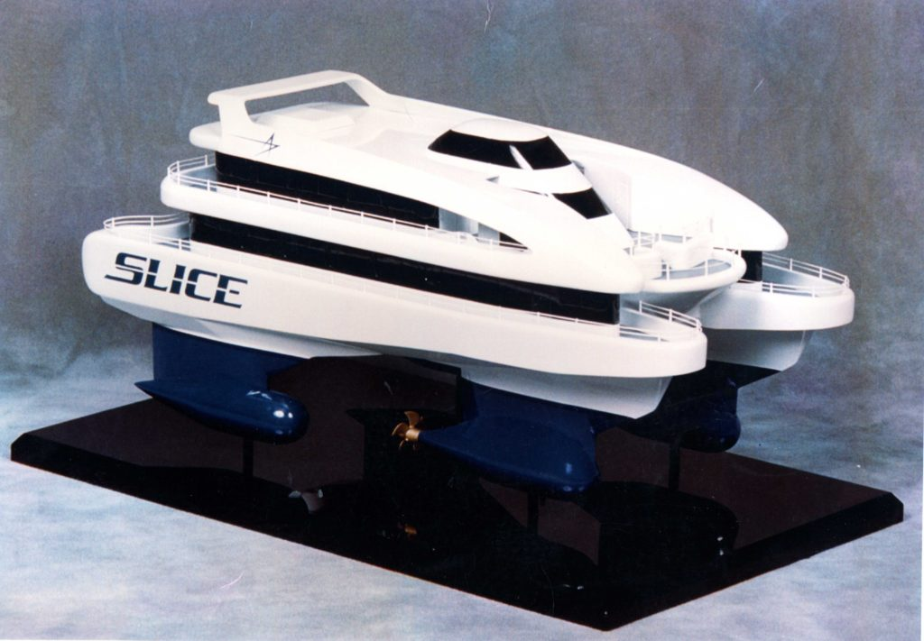 A model of the type of vessel being considered for the Arran to Glasgow ferry service.