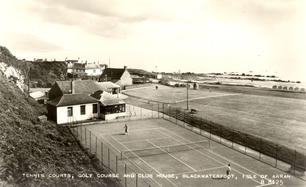 Tennis court at Shiskine Golf and Tennis Club where bowls club is now sited, date c. 1930.