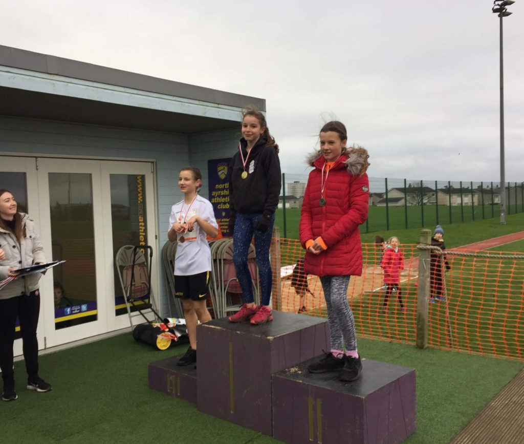 Kirsty Hume won Arran's first gold medal in the P7 girls race against 36 other runners.