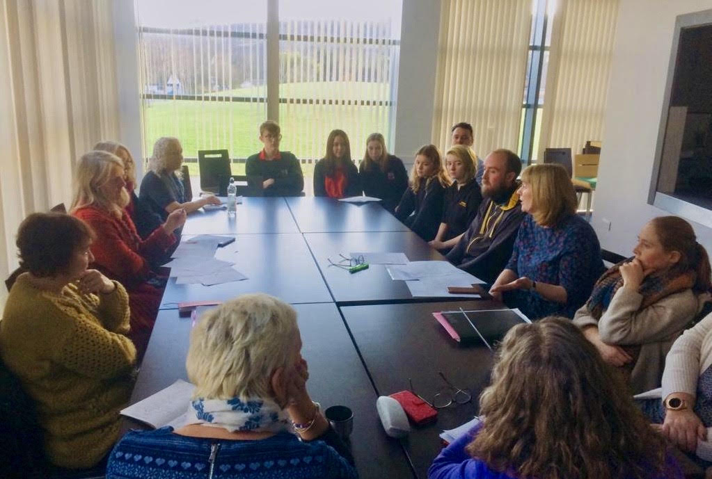 The Wee Mac steering committee meet at Arran High School to discuss the book festival.
