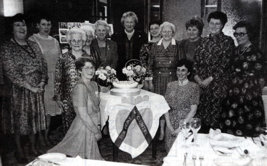 The ladies of Shiskine WRI celebrate the institute's 70th anniversary in March 1990 at the Kinloch Hotel.