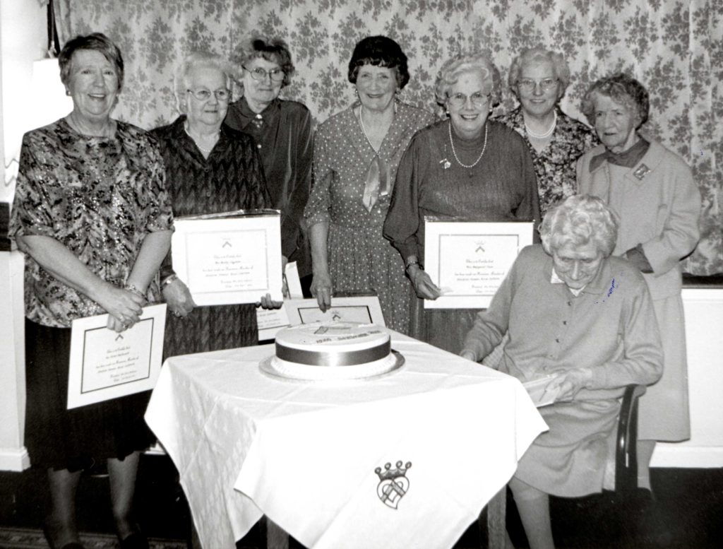 A number of ladies were made honorary members at the 8oth anniversary in 200. They were left to right: Helen MacDonald, Betty Ingham, Martha Currie, Cathy Murchie, Margaret Frew, Mary Smith, Betty Currie and Elise Bannatyne.