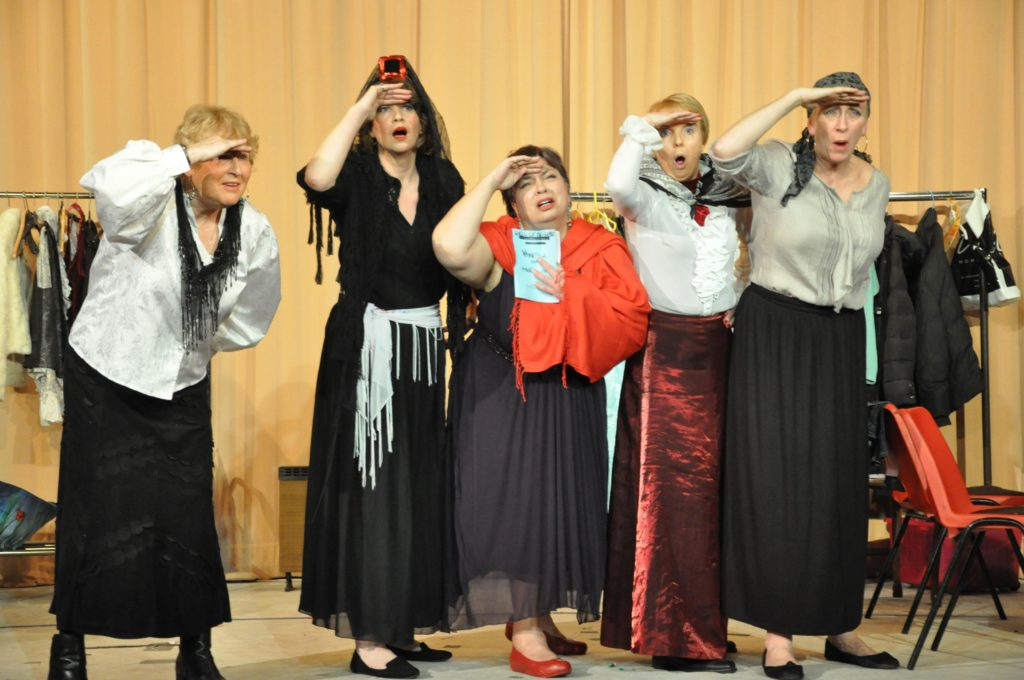 Actors from Shiskine SWRI perform a scene from their play Darlings You Were Wonderful at the drama festival back in 2015.