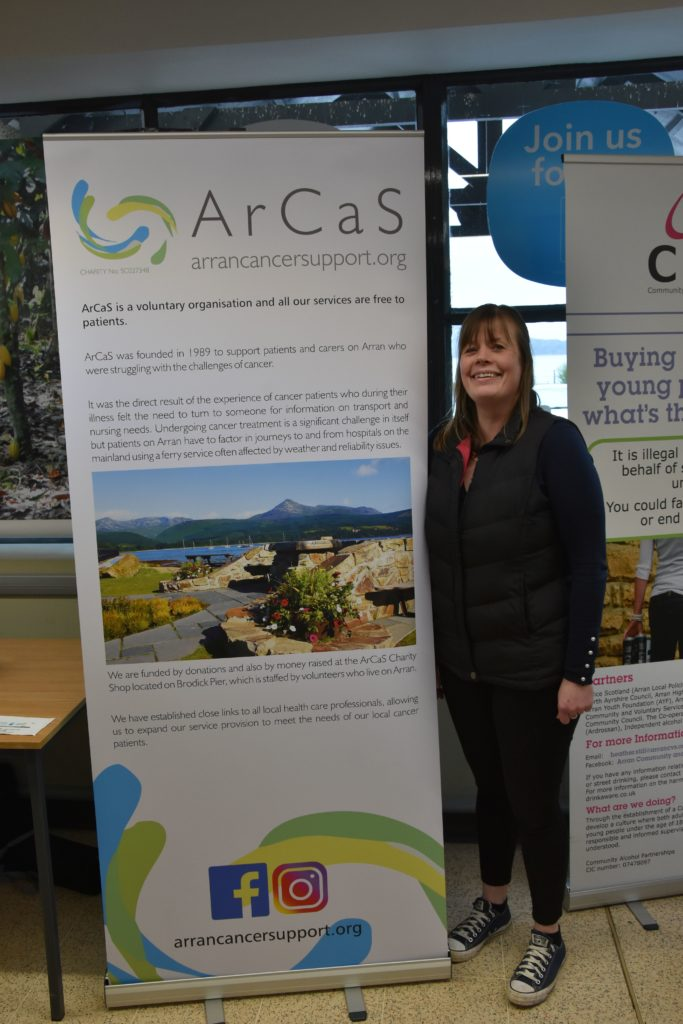 Kirsten Nicholson, assistant manager of the ArCaS shop in Brodick, was on hand to speak to shoppers about the work that the charity undertakes for those whose lives are affected by cancer.