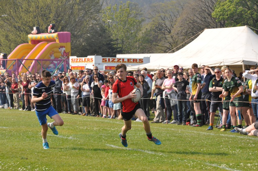 A big crowd watch an under 16 game at last year's rugby sevens, but the park will be empty tomorrow (Saturday).