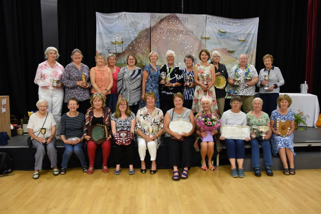 Last year's trophy winners at the SWI handicraft show, but there will be no trophies presented this year.