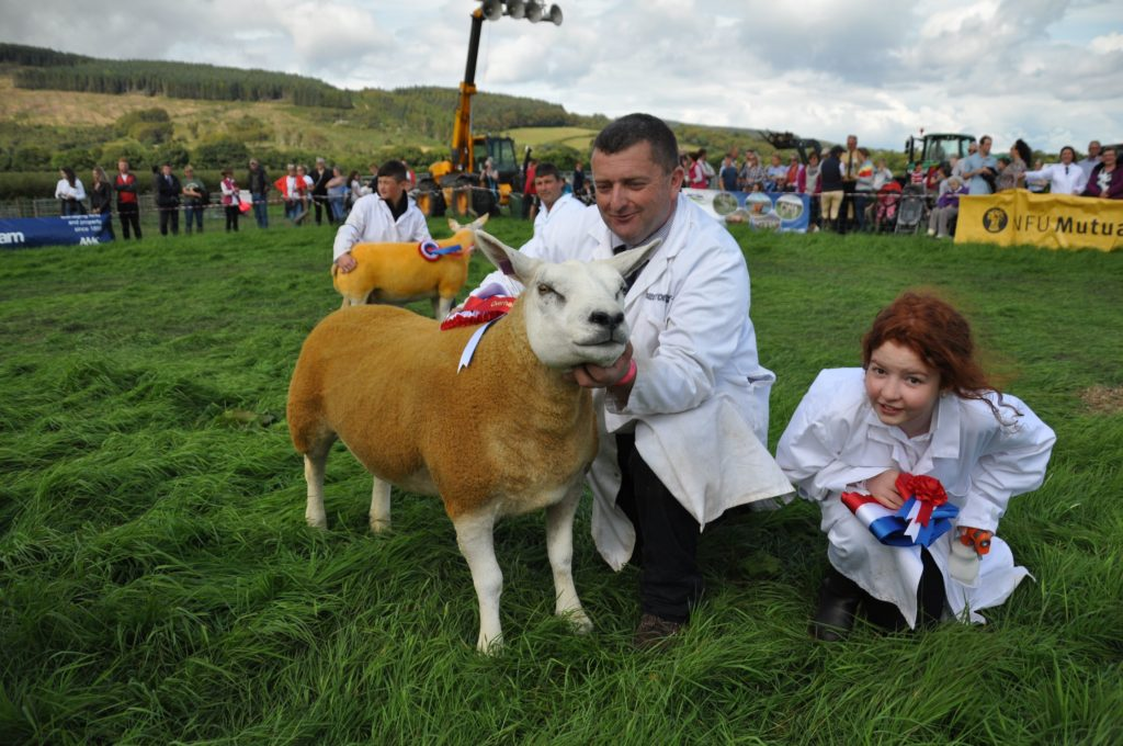 A proud David Henderson with his Texel ewe which was the overhead champion at last year's farmers show with daughter Emma, but there will be no overhead champion this year.
