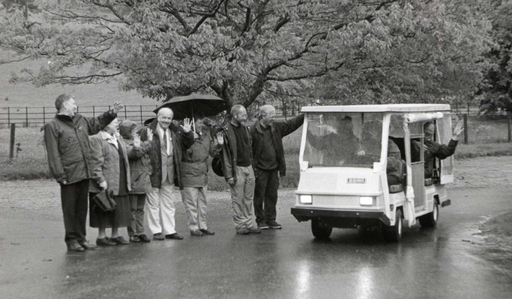 A new disabled buggy, costing £9,000, has gone into service at Brodick Castle. It will be operated by the Friends of Brodick Castle seen here waving off the first customers.