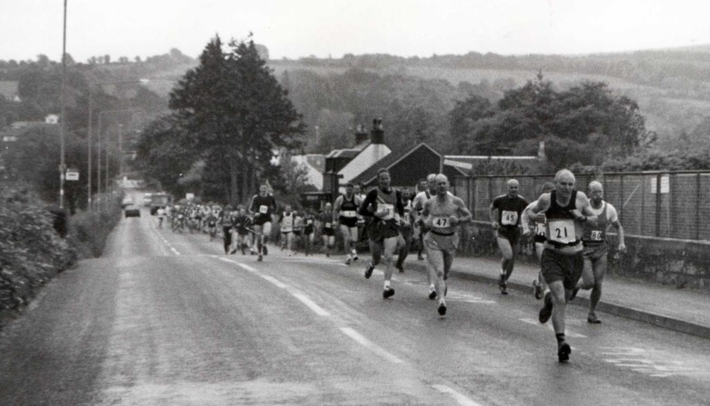 Tommy Gilmore leads from the front as 94 runners head out of Brodick at the start of the first Goatfell hill race of the millennium.