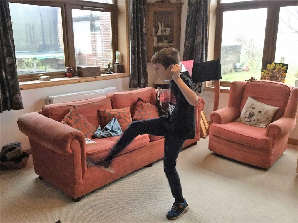 A Kilmory pupil keeping fit at home.