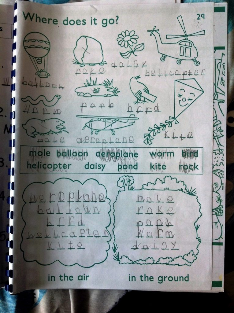 A completed worksheet by a Corrie pupil.