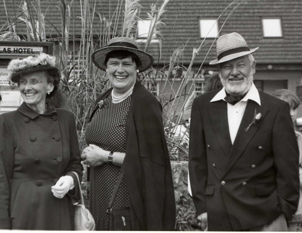 Looking the part, Grace Small, who suggested the fair, with Norma Davidson and a very dapper husband Harry.