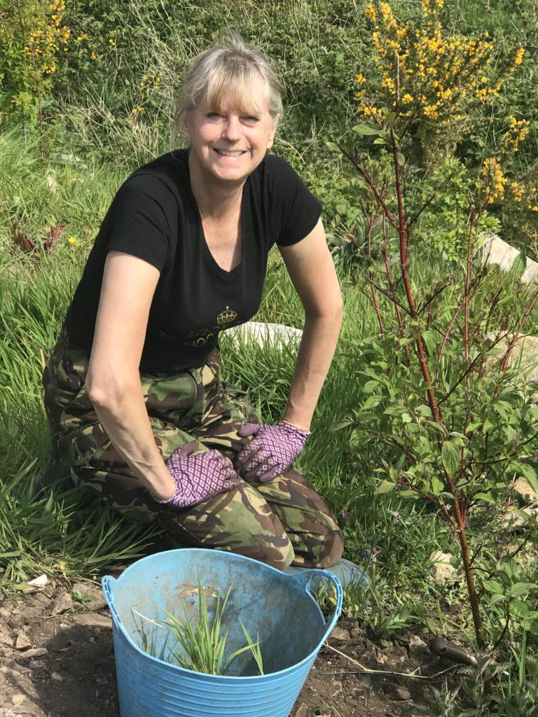 Amanda Grindall in her garden.