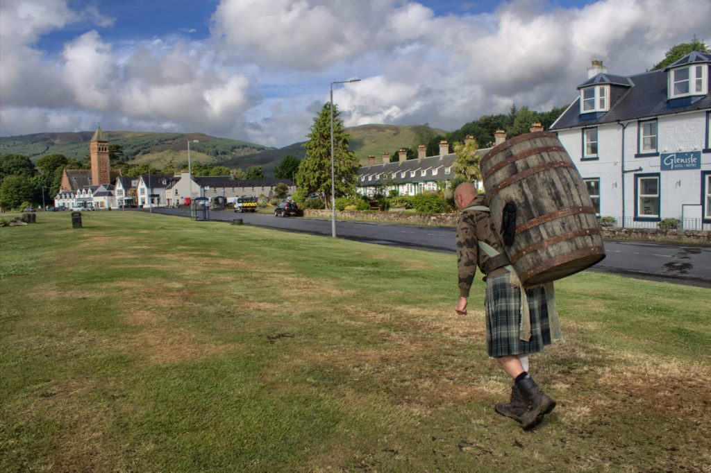 Davy strides across Lamlash green.