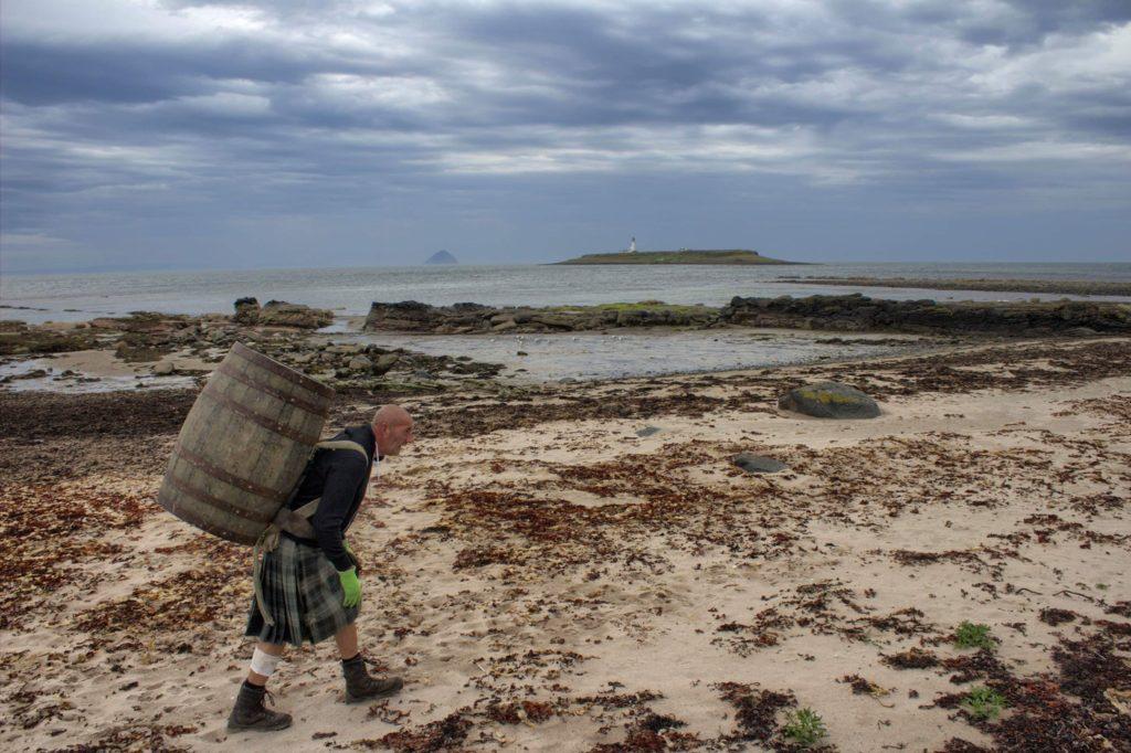 Kildonan beach with Pladda and Ailsa Craig in sight. N