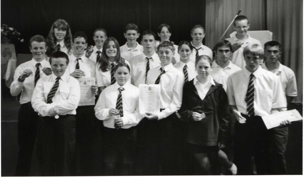 The sports prize winners at the Arran High School awards ceremony.