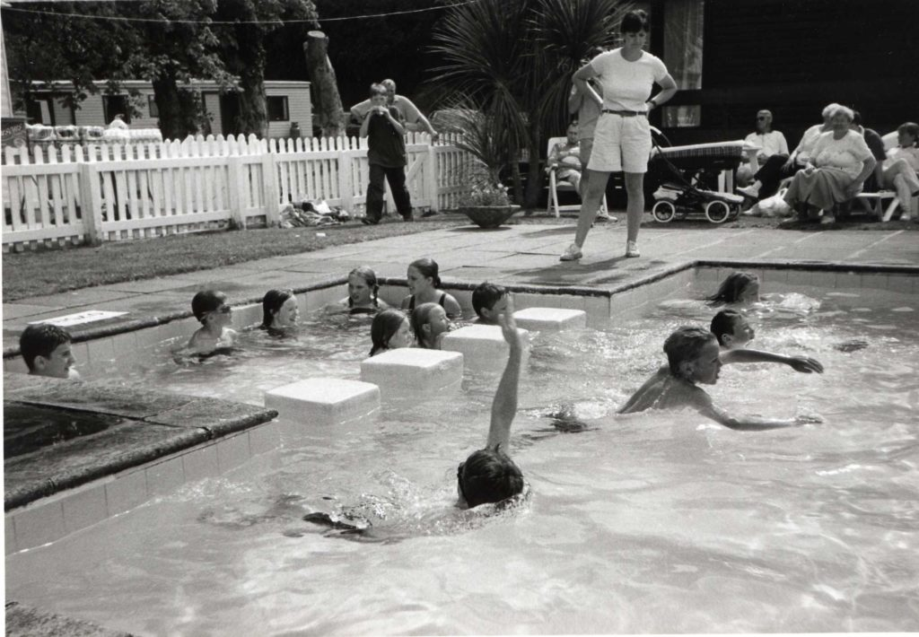 A race at the children's swimming gala held at the Cooper Angus caravan park.