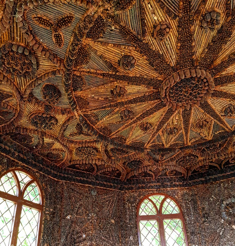 The ornate ceiling of the Bavarian summerhouse.