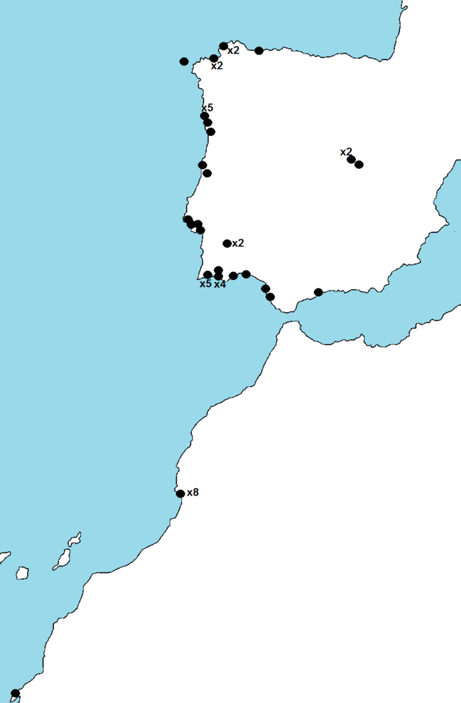 Map showing where birds ringed on Arran have been reported in winter.