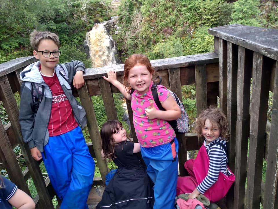 On the viewing platform at Glenashdale Falls in full flow.